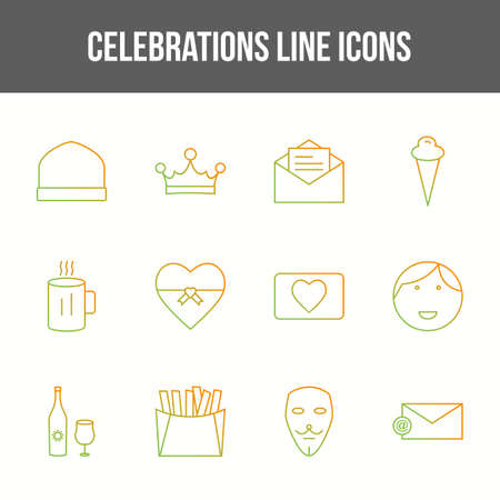 Unique celebration vector line icon set 向量圖像
