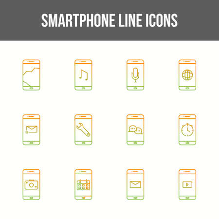 Unique smartphone vector line icon set 版權商用圖片 - 148430559