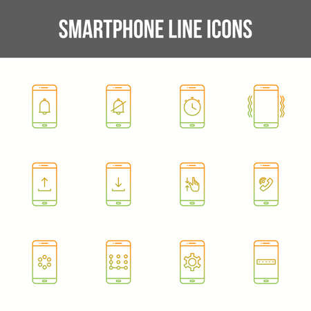 Unique smartphone vector line icon set 版權商用圖片 - 148430560