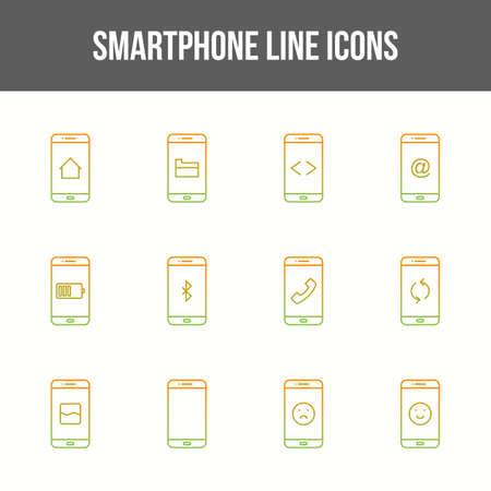 Unique smartphone vector line icon set