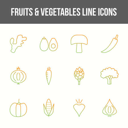 Unique fruits & vegetables vector line icon set 版權商用圖片 - 148430565