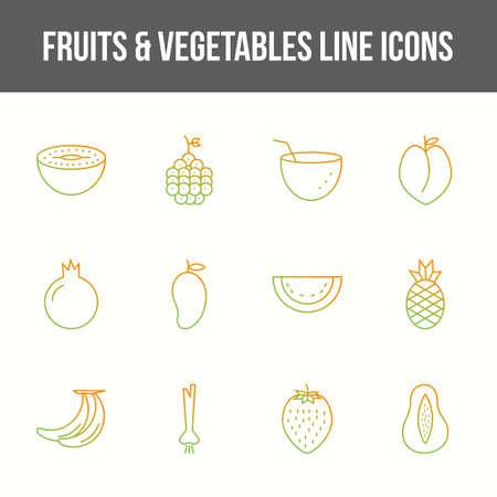 Unique fruits & vegetables vector line icon set