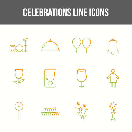 Unique celebration vector line icon set 版權商用圖片 - 148430567