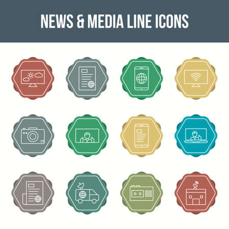 Unique news & media vector line icon set 版權商用圖片 - 148430660