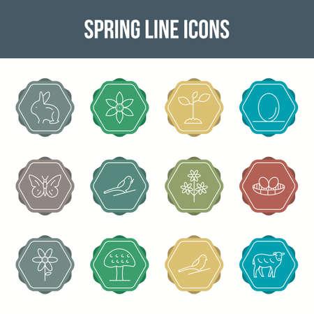 Unique spring vector line icon set 向量圖像