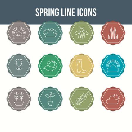 Unique spring vector line icon set 版權商用圖片 - 148430668