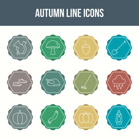 Unique autumn vector line icon set 版權商用圖片 - 148430671