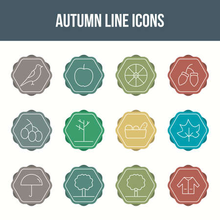 Unique autumn vector line icon set