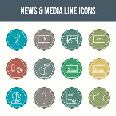 Unique news & media vector line icon set 版權商用圖片 - 148430691
