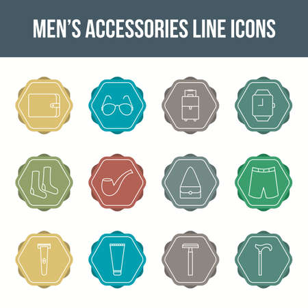Unique men's accessories vector line icon set 版權商用圖片 - 148430698