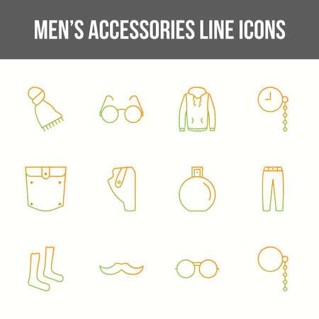 Unique men's accessories vector line icon set 版權商用圖片 - 148430702