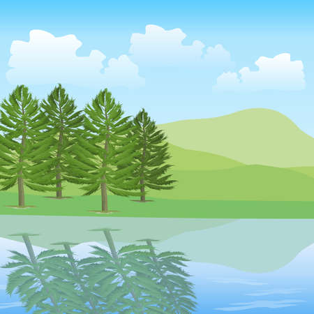 beautiful landscape of green mountain & water with trees 版權商用圖片 - 149949930