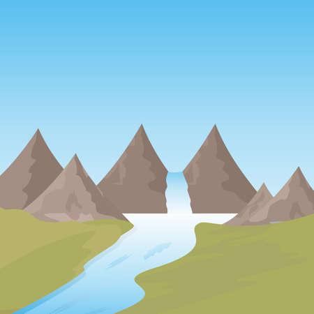 Beautiful landscape of Waterfall in mountain 版權商用圖片 - 149949931