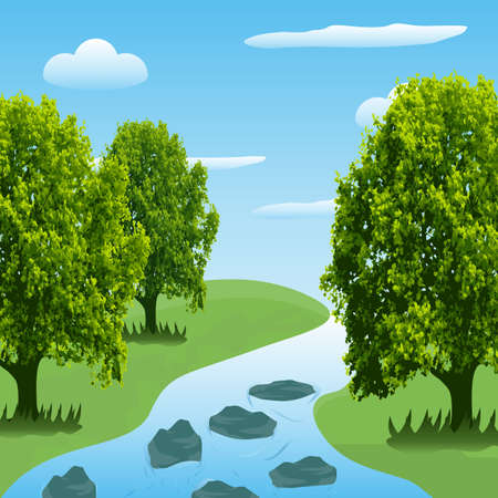 Beautiful greenery & river landscape