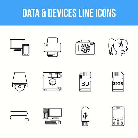 Unique Data & Devices Line icon set