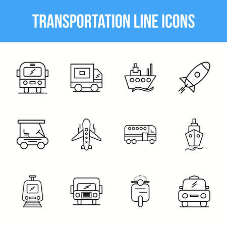 Unique Transportation Line icon set 版權商用圖片 - 152865628