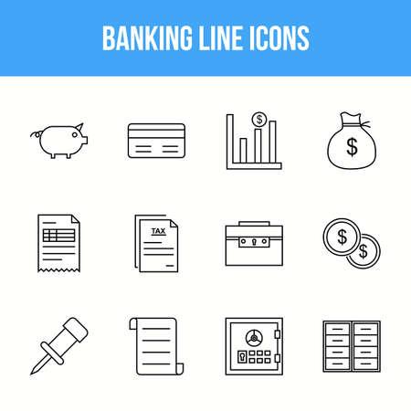 Unique Banking Line icon set 版權商用圖片 - 152865241