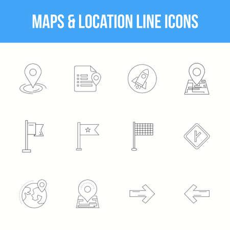 Unique Maps & location Line icon set