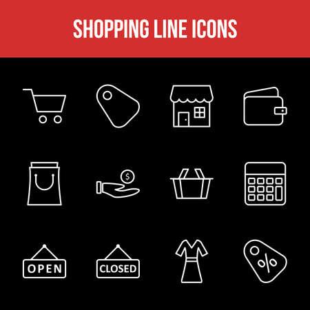Unique Shopping Line icon set 版權商用圖片 - 152866326