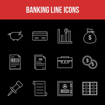 Unique Banking Line icon set 版權商用圖片 - 152866409