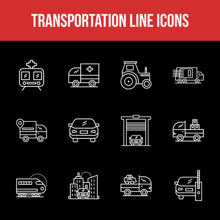 Unique Transportation Line icon set