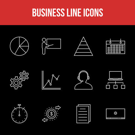 Unique Business Line icon set 版權商用圖片 - 152866333