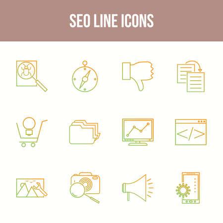 Unique SEO Line icon set 向量圖像