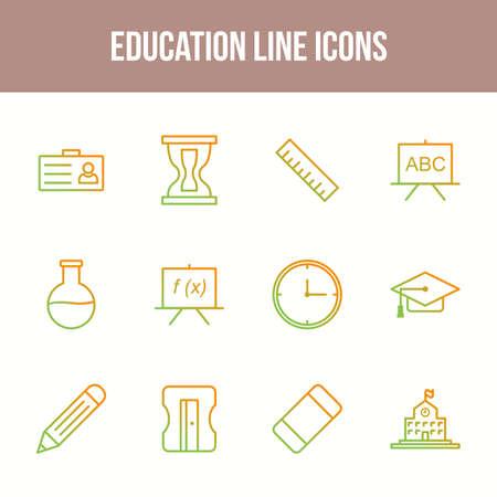 Unique Education Line icon set
