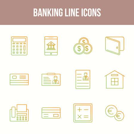 Unique Banking Line icon set 向量圖像