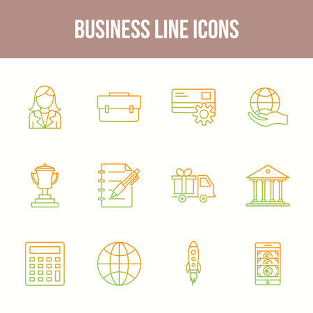 Unique Business Line icon set 版權商用圖片 - 152866576