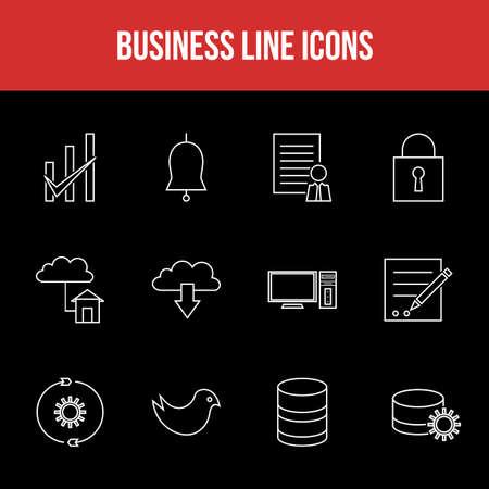 Unique Business Line icon set 版權商用圖片 - 152866603
