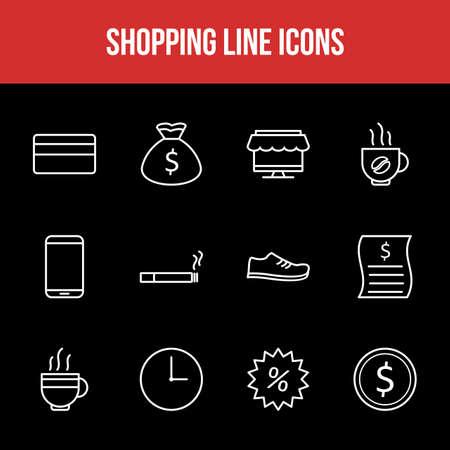 Unique Shopping Line icon set