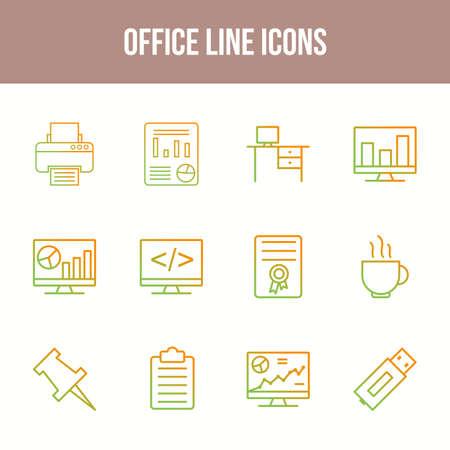 Unique Office Line icon set 向量圖像