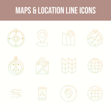 Unique Maps & location Line icon set 版權商用圖片 - 152866424
