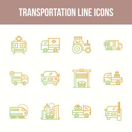 Unique Transportation Line icon set