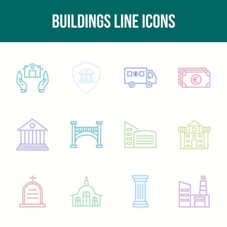 Unique Buildings Line icon set 일러스트