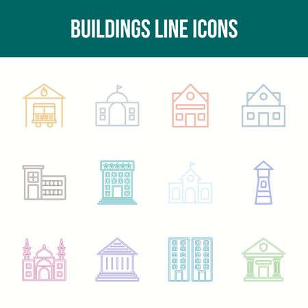 Unique Buildings Line icon set