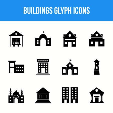 Unique Buildings Glyph icon set
