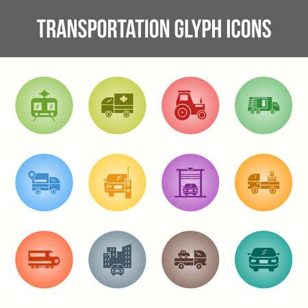 Unique Transportation Glyph icon set
