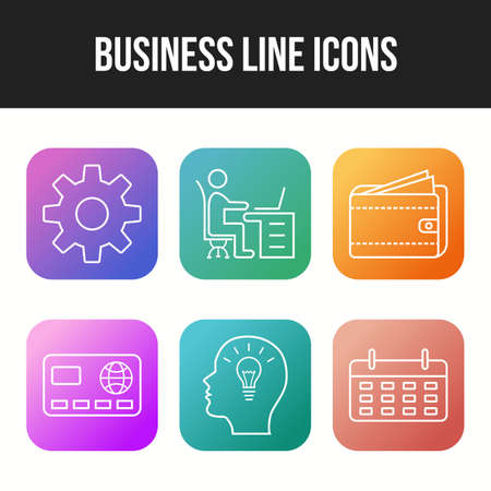 6 Unique Business Line vector icon set