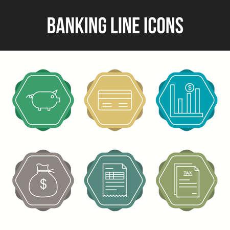 Unique Line vecor icon set of Banking icons