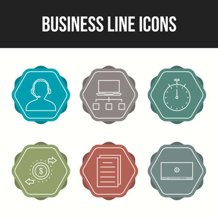 6 Beautiful Business Line vector icon set