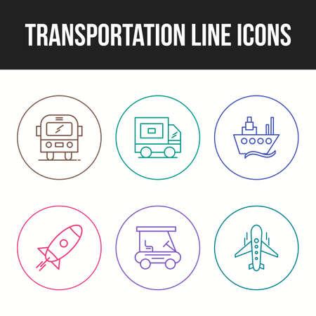 Transportation icon set of unique line icons