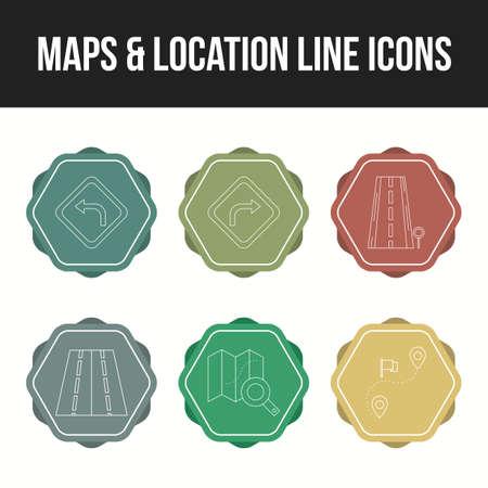 Beautiful maps & location unique line icon set