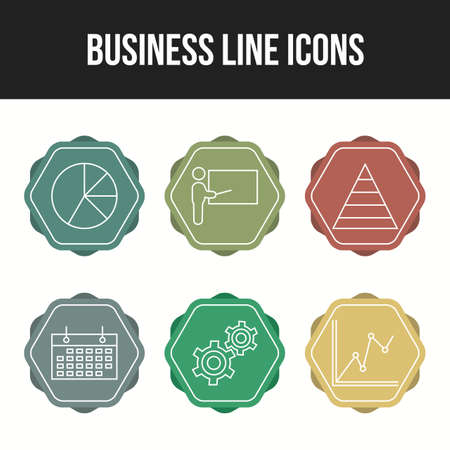 6 Line Unique Business vector icon set Illusztráció