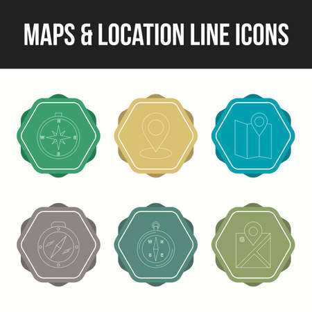 Beautifu maps & location line icon set Ilustração
