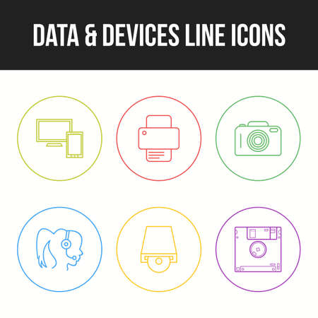 Unique Line vecor icon set of Data and devices icons