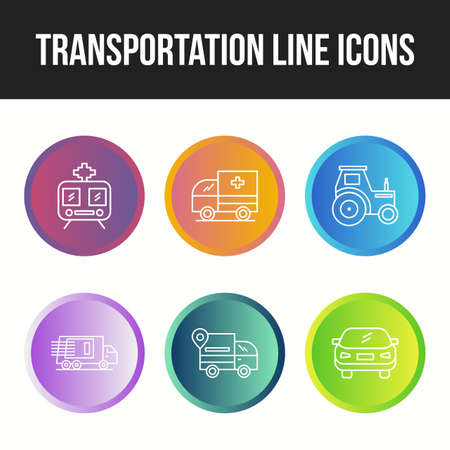 Beautiful transportation unique line icon set Ilustração