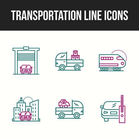 Icon Set of Unique Transportation Line Icon