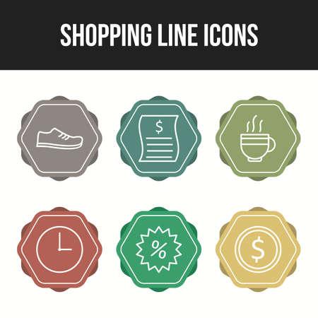 Beautiful six shopping & business line icon set Ilustração